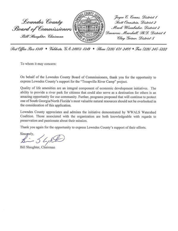 """[Lowndes County's support for the """"Troupville River Camp"""" project.]"""