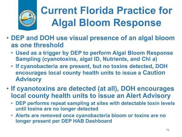 [Current Florida Practice for Algal Bloom Response]
