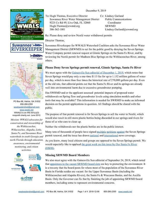 [Please Deny Seven Springs permit renewal, Ginnie Springs, Santa Fe River]