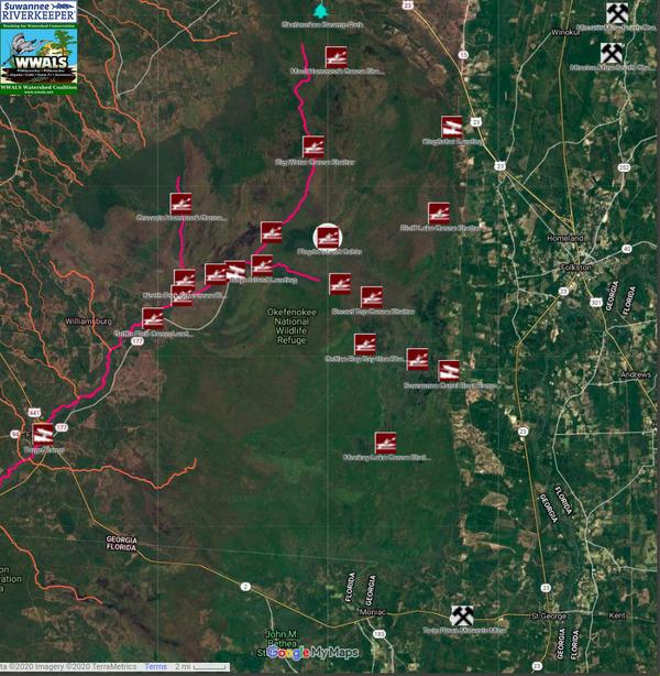 [Map: Floyds Island middle of Okefenokee Swamp]