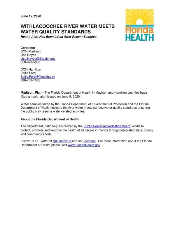 [FDOH lifts water quality adivsory, Withlacoochee River]