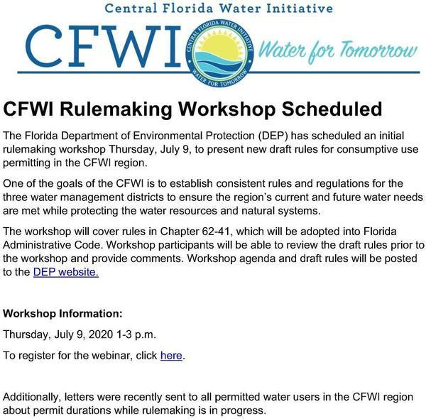 [CFWI Workshop scheduled for July 9, 2020]