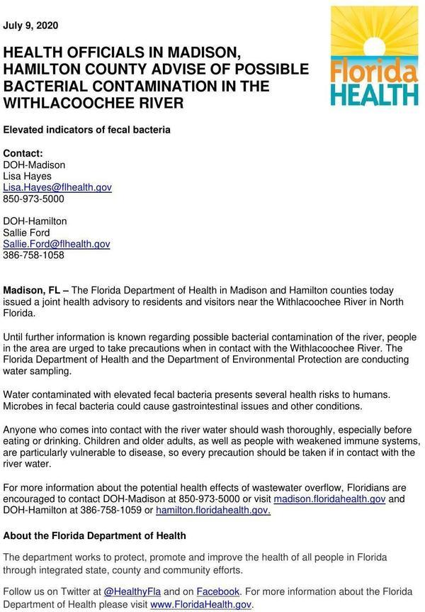 [Possible Bacterial Contamination of Withlacoochee River]