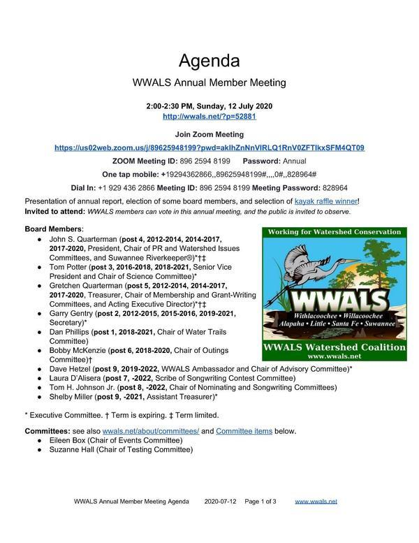 [WWALS Annual Member Meeting]