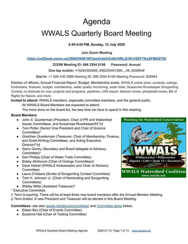 WWALS Quarterly Board Meeting