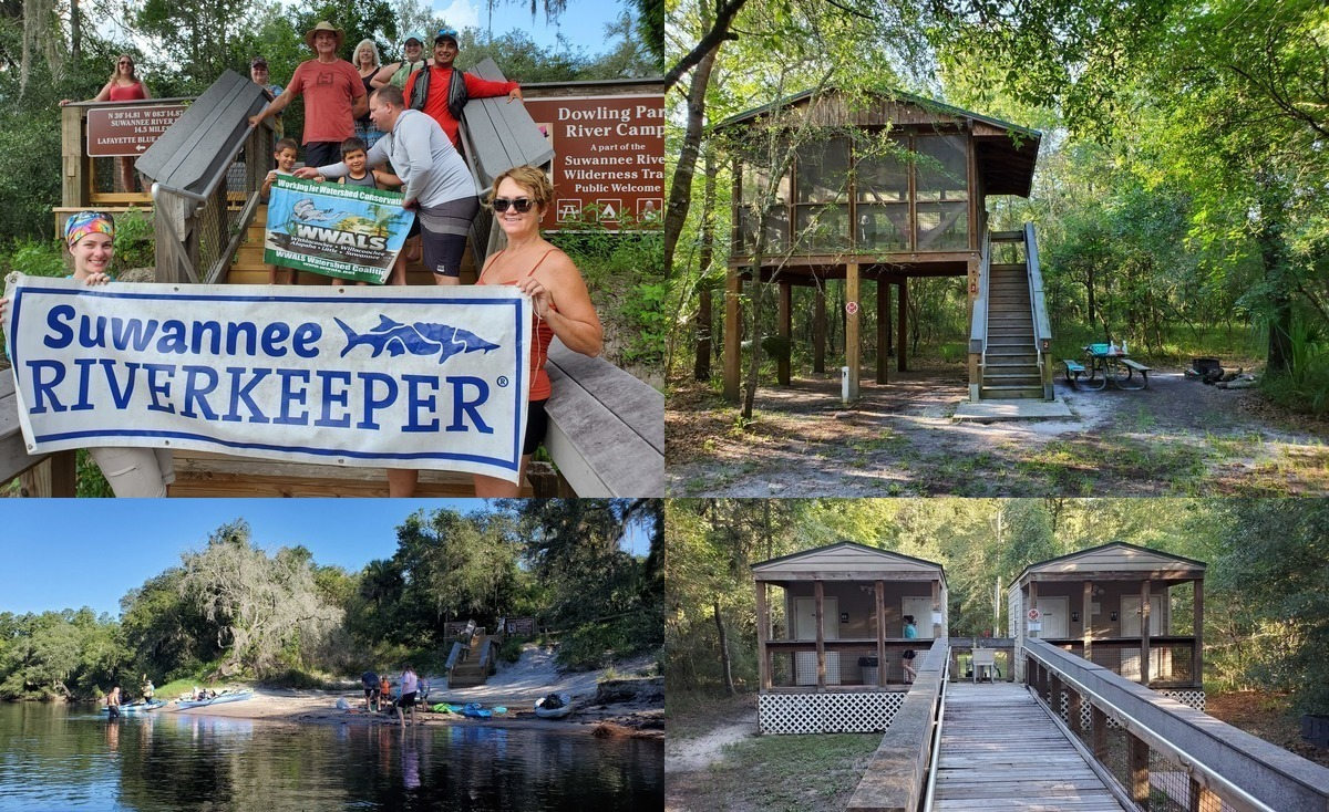 [Stairs, Platform, Beach, Bathrooms: Dowling Park River Camp]