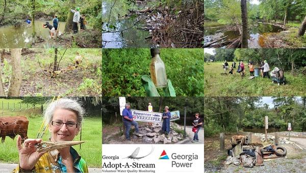 [Bucket, need boat, Withlacoochee River, spider, bottle, handoff, Great Blue Heron, trash, Volunteer of the Year --GA AAS]