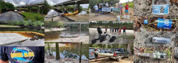 [Boat Ramp, Berrien Beach, bags of trash, bottles]