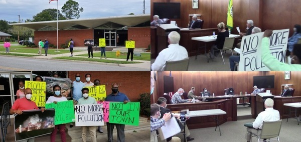 [Protesters outside and in, and the Adel City Council split vote for the wood pellet plant]