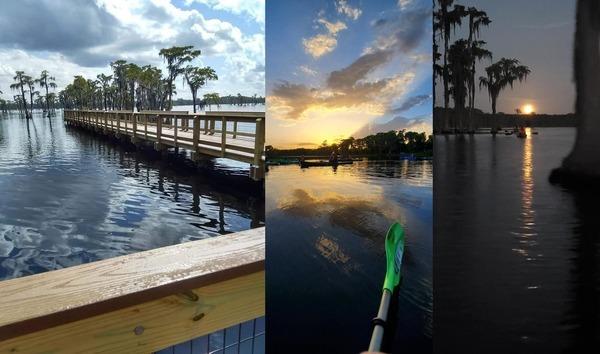 [Pier, sunset, moonrise, at Banks Lake]