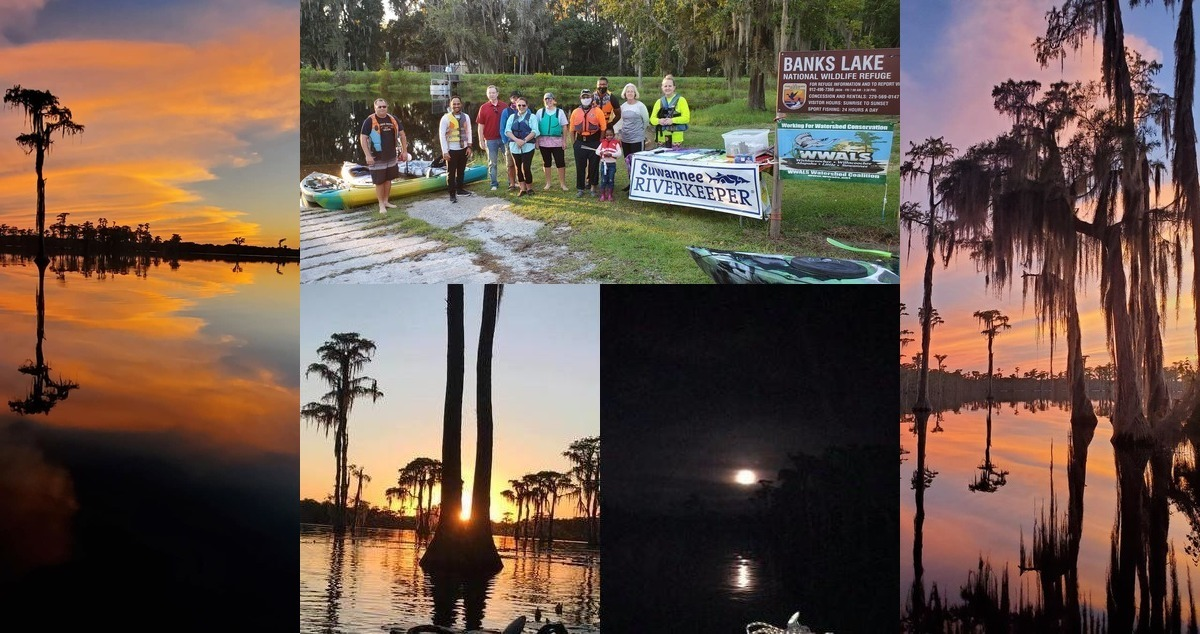 [Sunset, moonrise, and paddlers with banners]