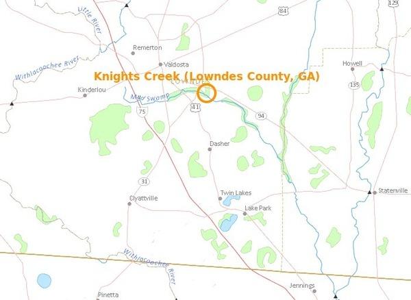 600x438 Knights Creek in Valdosta, in Knights Creek, Valdosta, Georgia, by USGS Streamer, for WWALS.net, 28 February 2015