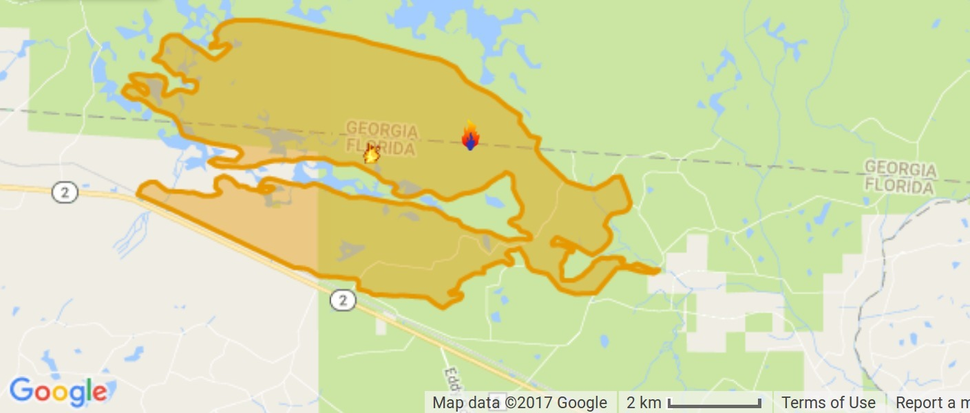 West Mims Fire In Upper Suwannee River Watershed In Okefenokee - Florida map of fires