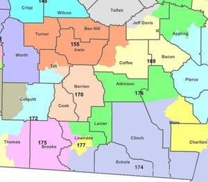 WWALS counties and districts for Georgia House of Representatives