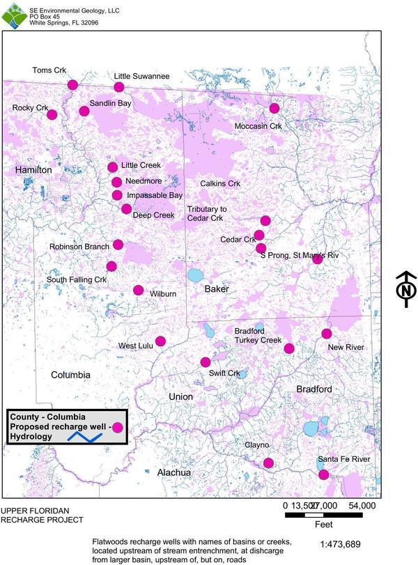 [Map: Flatwood Recharge Wells]
