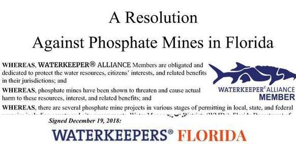res signed In: Waterkeepers Florida signs Resolution Against Phosphate Mines in Florida 2018-12-19 | Our Santa Fe River, Inc. (OSFR) | Protecting the Santa Fe River in North Florida