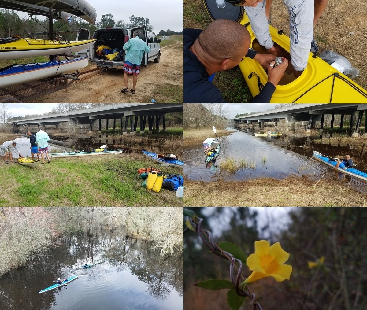 [Boats, Leak, Paddlers, River, Yellow Jessamine]