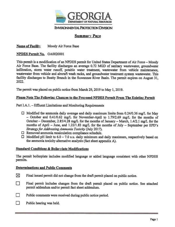 [GA0020001 US Department of the Air Force Moody AFB 2019 Permit Issuance]