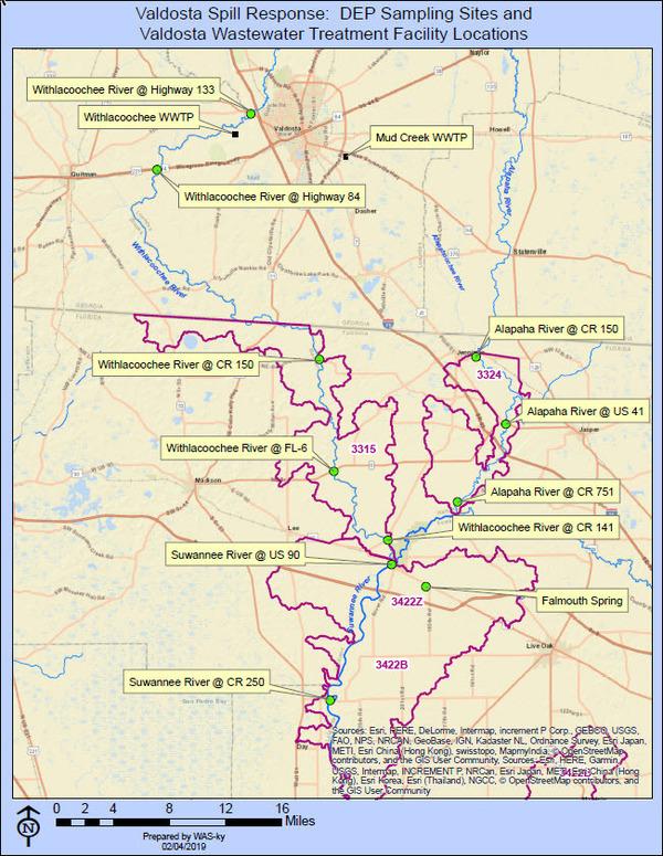 [DEP Valdosta spill response locations]