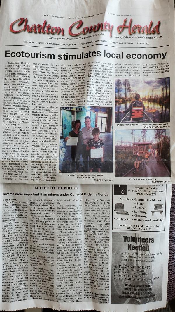 [Suwannee Riverkeeper op-ed 2019-08-13]