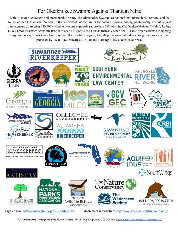 [Organizations For Okefenokee Swamp, Against Titanium Mine]