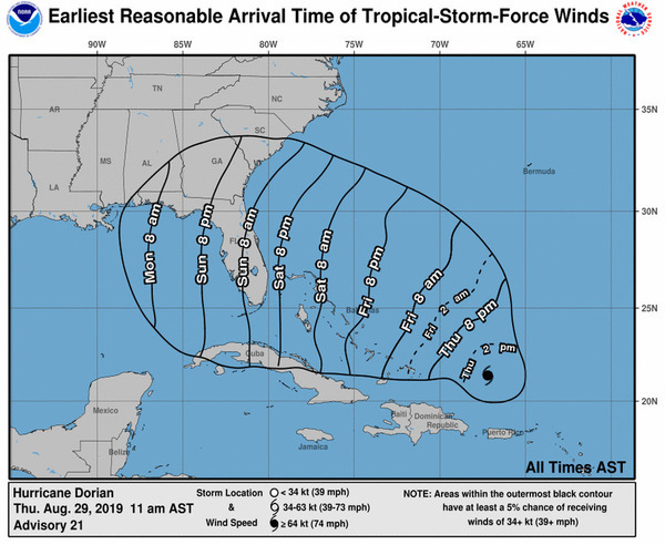 [Winds, Tropical Storm Force, Earliest Reasonable Time of Arrival]