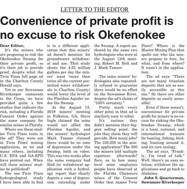 [Convenience of private profit is no excuse to risk Okefenokee --Suwannee Riverkeeper]