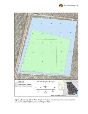 [Fig. 2. Detail map... depicting auger test locations, interior and exterior silt fencing boundaries, and the graded lot.]