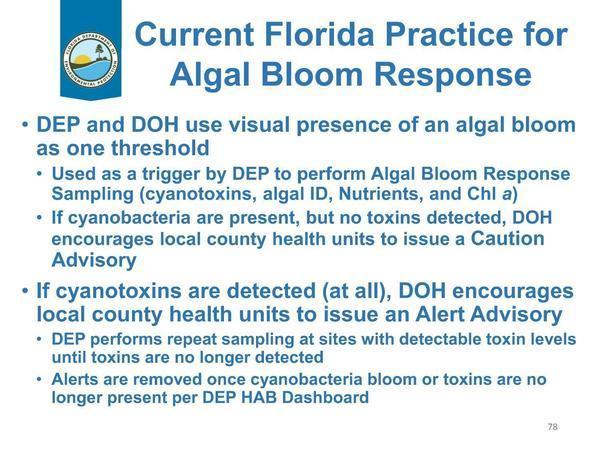 [Current Florida Practice for Algal Bloom Response]