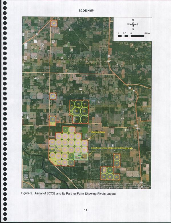 [Figure 2. Aerial of SCOE and Its Partner Farm Showing Pivots Layout]