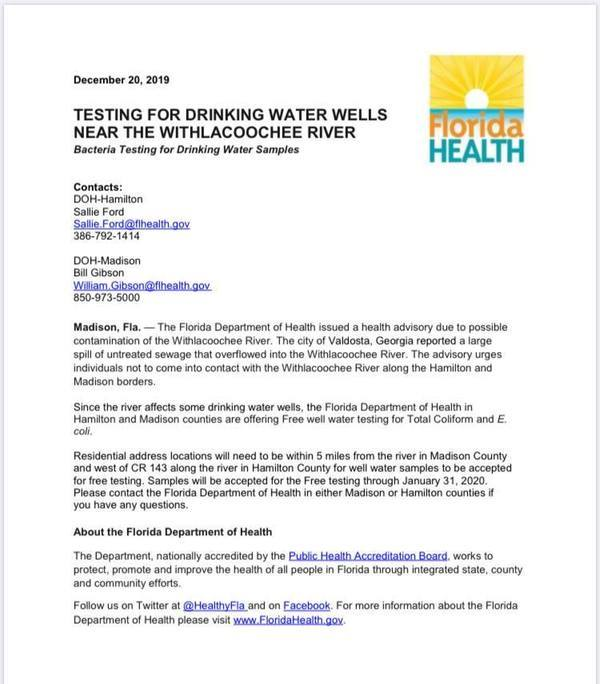 [Free water testing, Florida Health]