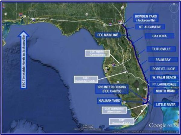 [FEC Timetable North from Miami to Jacksonville]