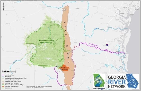 [Map: Okefenokee Swamp and Trail Ridge in Georgia, by Georgia River Network]