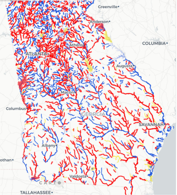 [Georgia impaired waters, map]