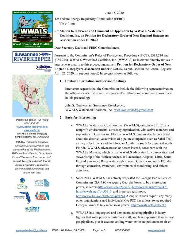 [2020-06-15--WWALS-Intervene-Deny-FERC-NERA-0001]