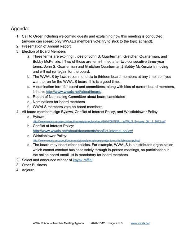 [Agenda: Annual Member Meeting]