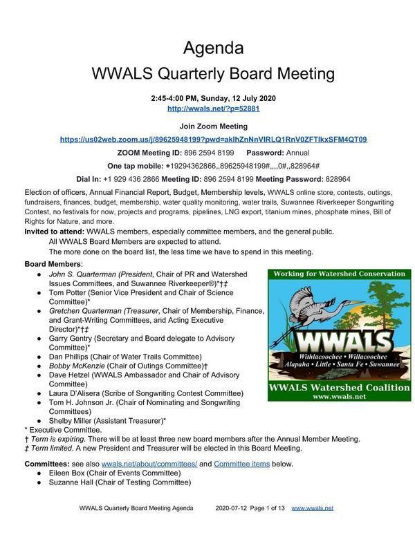 [WWALS Quarterly Board Meeting]