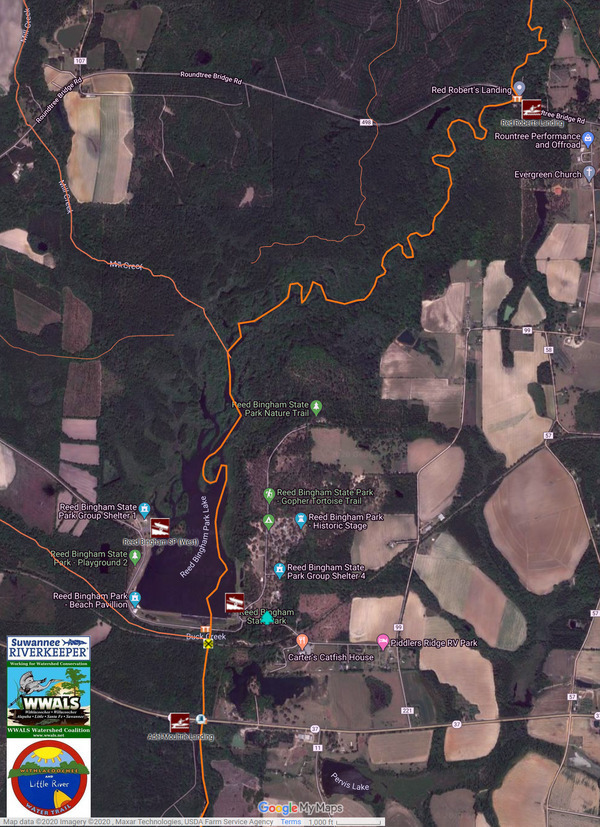 [Map: Reed Bingham State Park on Withlacoochee and Little River Water Trail]