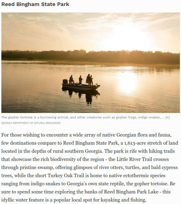 [Forbes: Reed Bingham State Park, Underrated Southern Nature Lover Destination]