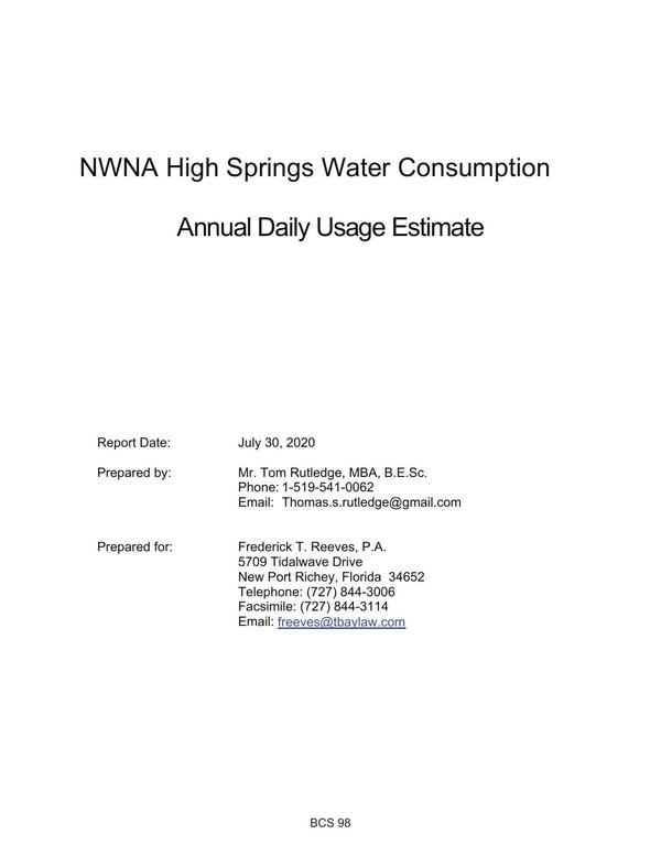 [NWNA High Springs Water Consumption, Annual Daily Usage Estimate]