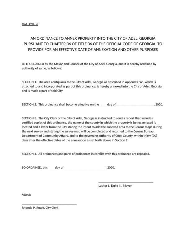 [Ordinance 20-06 Annexation]