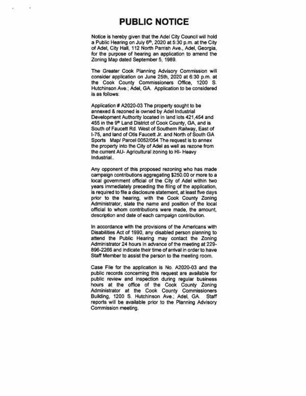 [Public Notice of public hearing on 2020-07-06]