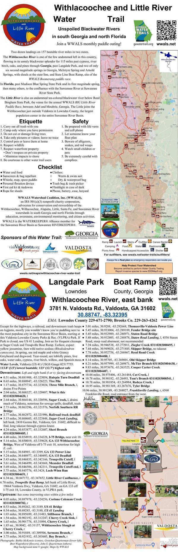 [Withlacoochee River signpost: Langdale Park Boat Ramp]