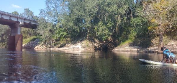 [Dog spots creek before US 129 bridge]