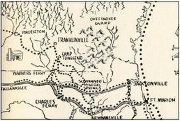 [1838 Motte Seminole War trail map]