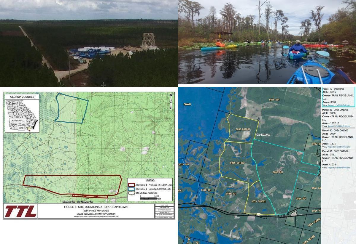 [Mine site, Okefenokee Swamp, TIAA land, TPM land]