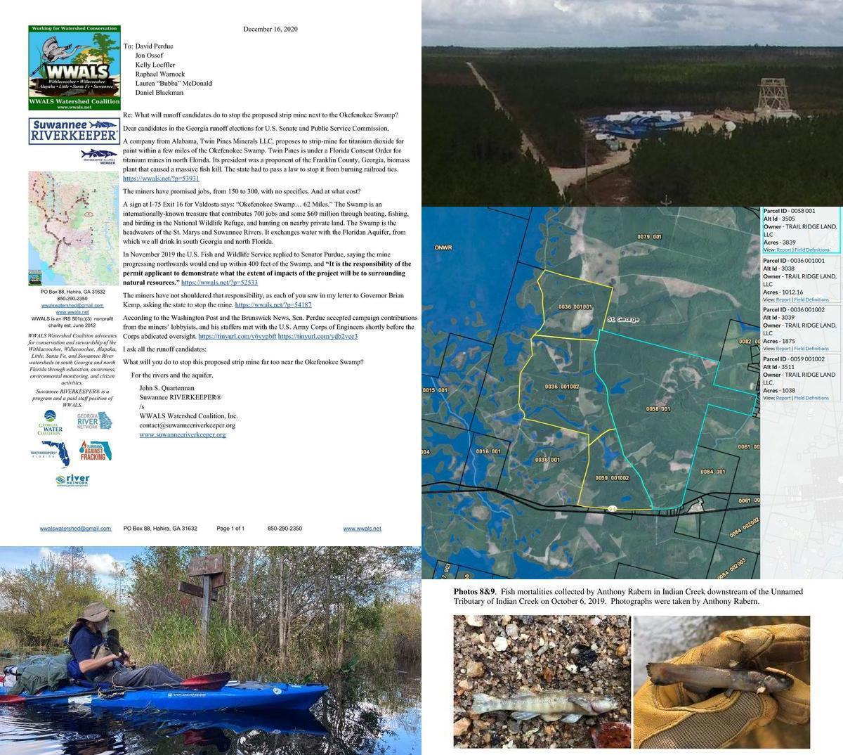 [Letter, Suwannee Riverkeeper, mine site, Okefenokee Swamp, fish kill]