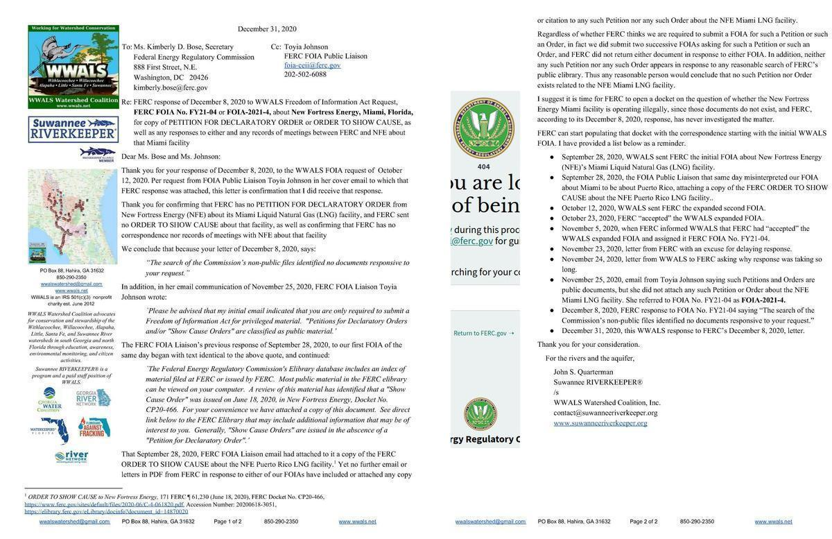 [WWALS letter and FERC 404]