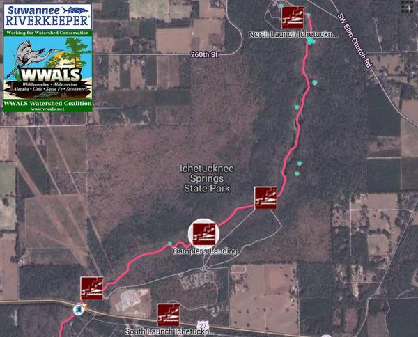 [Map: Dampier's Landing in Ichetucknee Springs State Park]