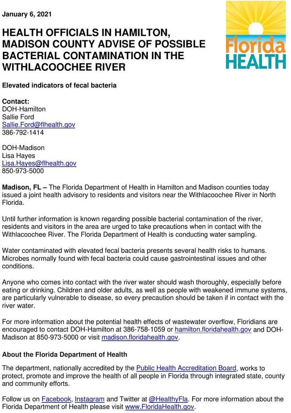 [Health Advisory, Withlacoochee River]